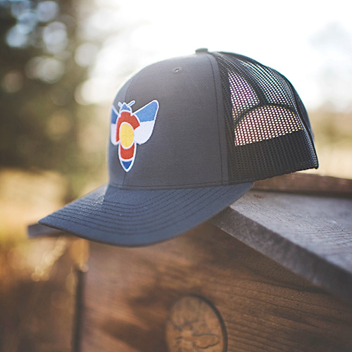 Colorado Bee Hat - Black Trucker - Beeyond the Hive 538ab8708ea